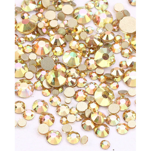 Стразы dream beige,стекло (Упаковка 1440 шт., размеры mix ss3-ss20)