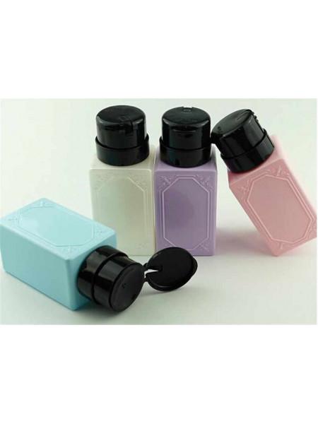 Дозатор пластиковый для жидкостей 200 мл. с помпой прямоугольный (в ассортменте)