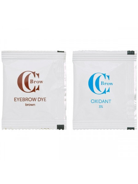 Краска для бровей CC Brow 1+1, (коричневый) (1 саше с гель-краской, 1 саше с окислителем)