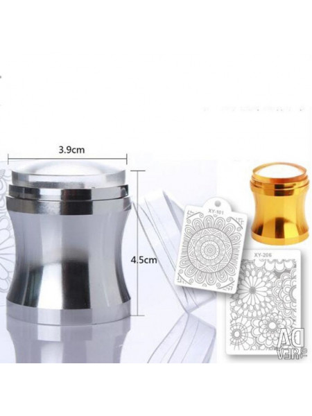 Штамп для стемпинга большой серебро 3,9см + скрапер